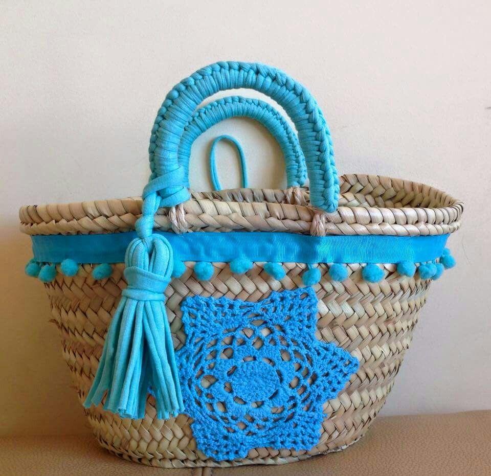 Capazo decorado cestas de la playa pinterest - Cestas para la playa ...