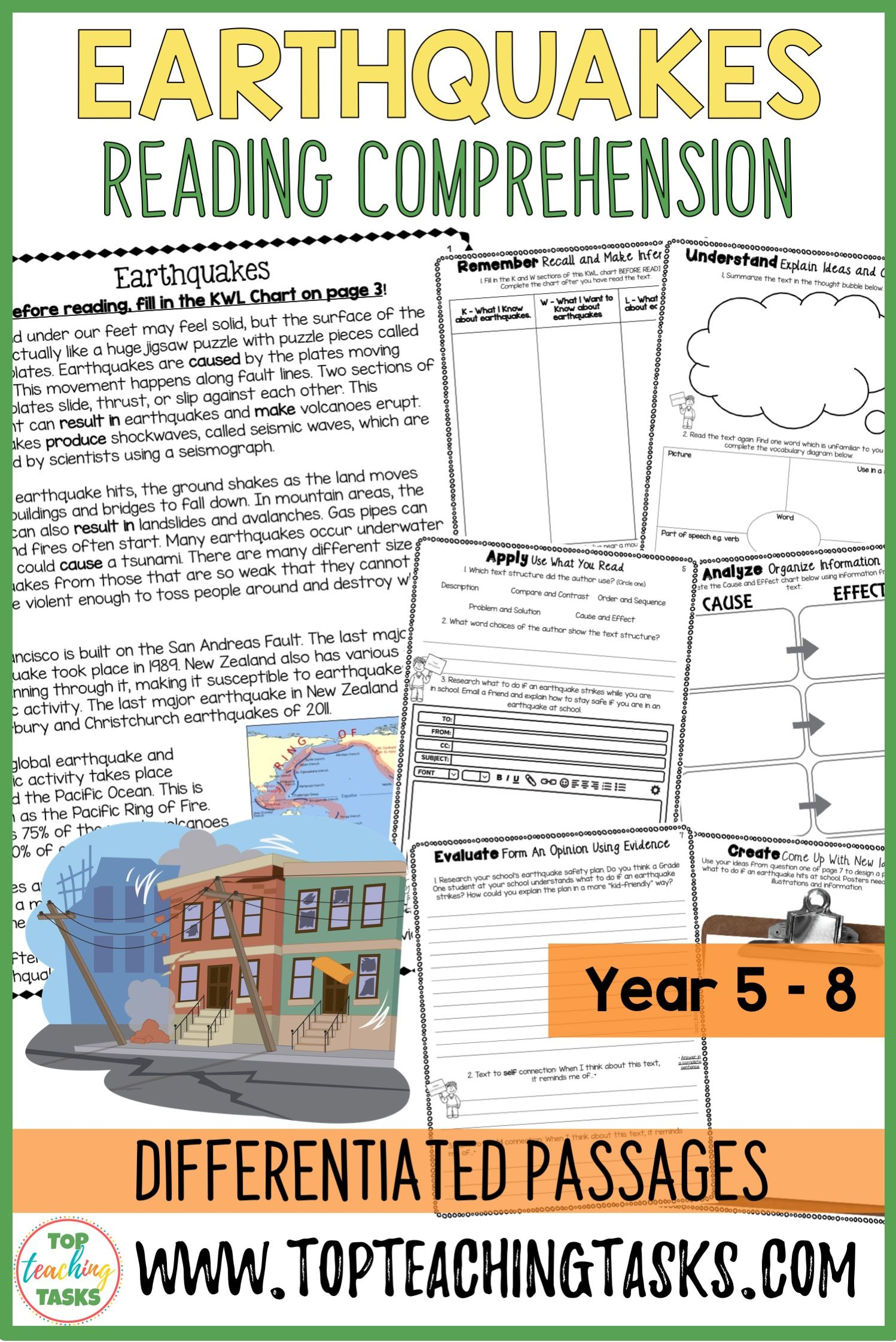 Earthquakes Reading Comprehension Passages And Questions