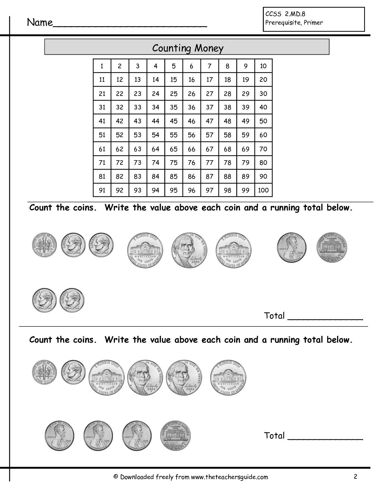 Math Worksheet Coins Value