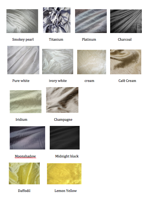 Color Chart 4 Silvers Neutrals Yellow Dupioni Silk Color