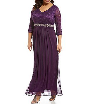 99d2fd25c57 Alex Evenings Plus Size V-Neck Lace Bodice A-Line Long Dress ...
