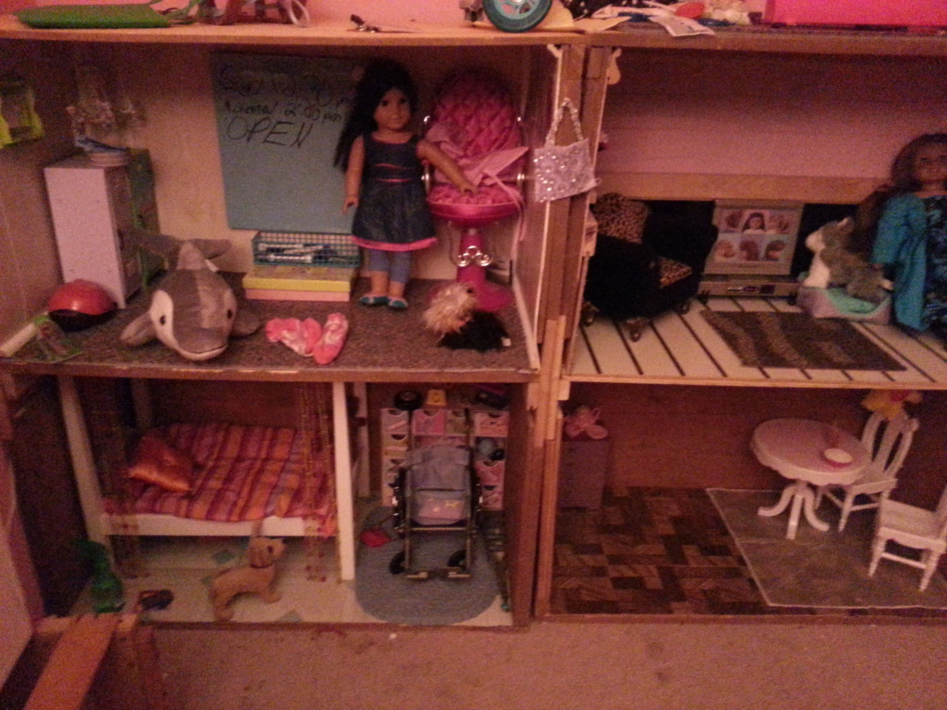 american girl dollhouse made from salvaged crates brookes room