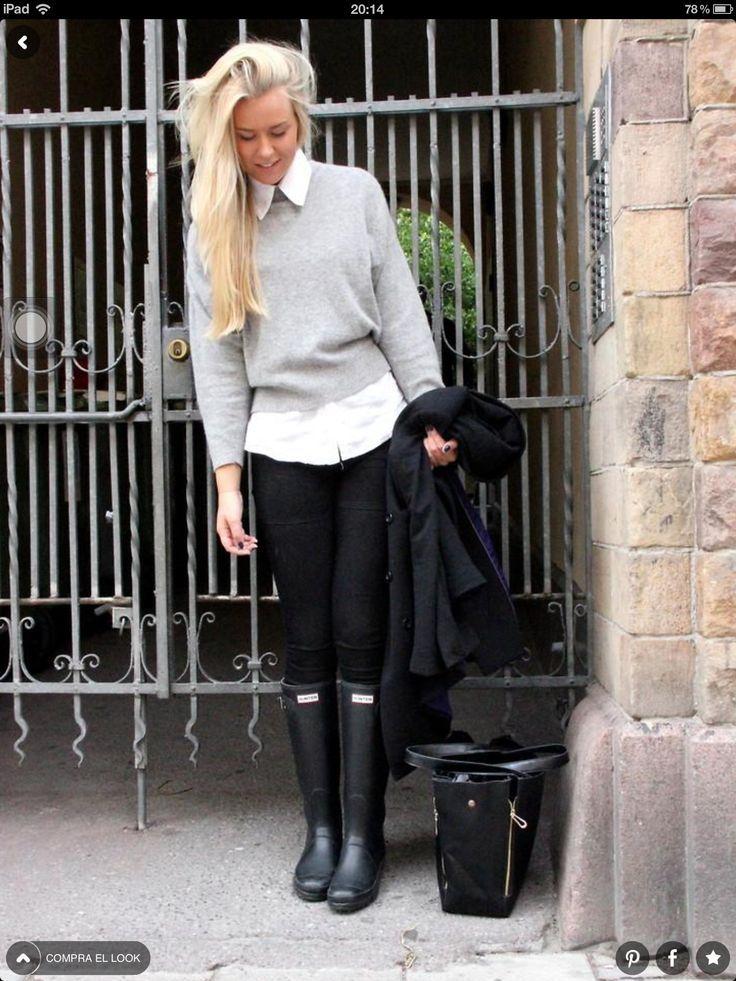 Weekday Sweater, Denim Is Dead Jeans, Hunter Wellingtons, Romwe Bag, H Coat