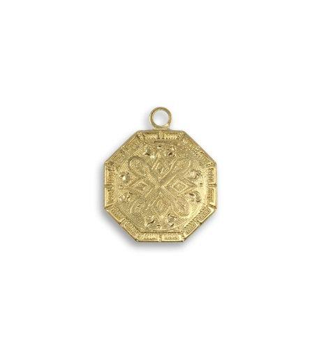 Vintaj Bright Brass Small Medallion Charm Gold Tone Octagon Tile