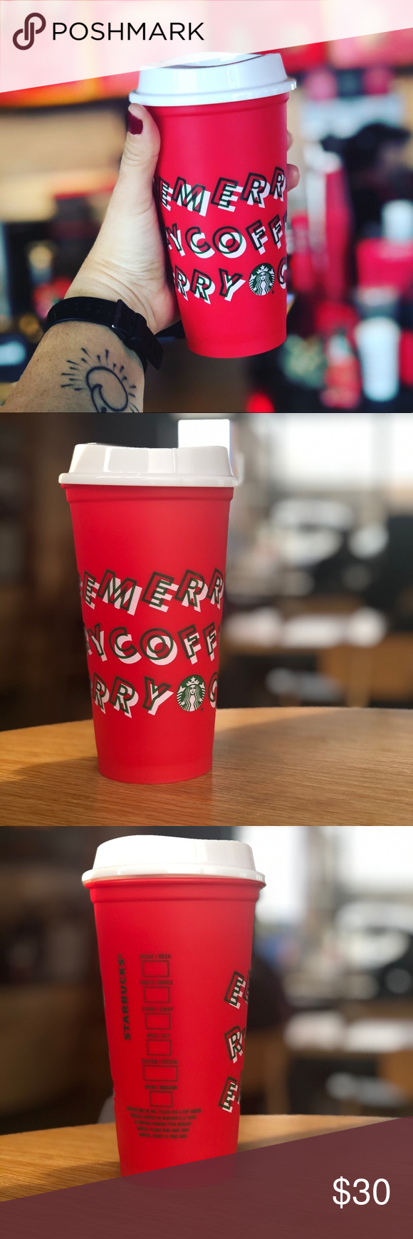 """Starbucks Holiday reusable Red cup +drink discount """"Merry"""