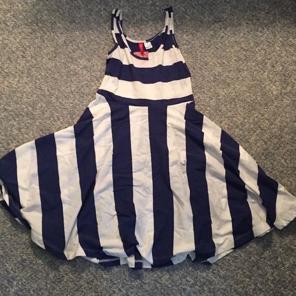 Brand new H&M blue and white striped dress Brand new H&M blue and white striped dress. Tags attached. Brand is divided. Size 6. This is adorable but too small on me! Divided Dresses Mini