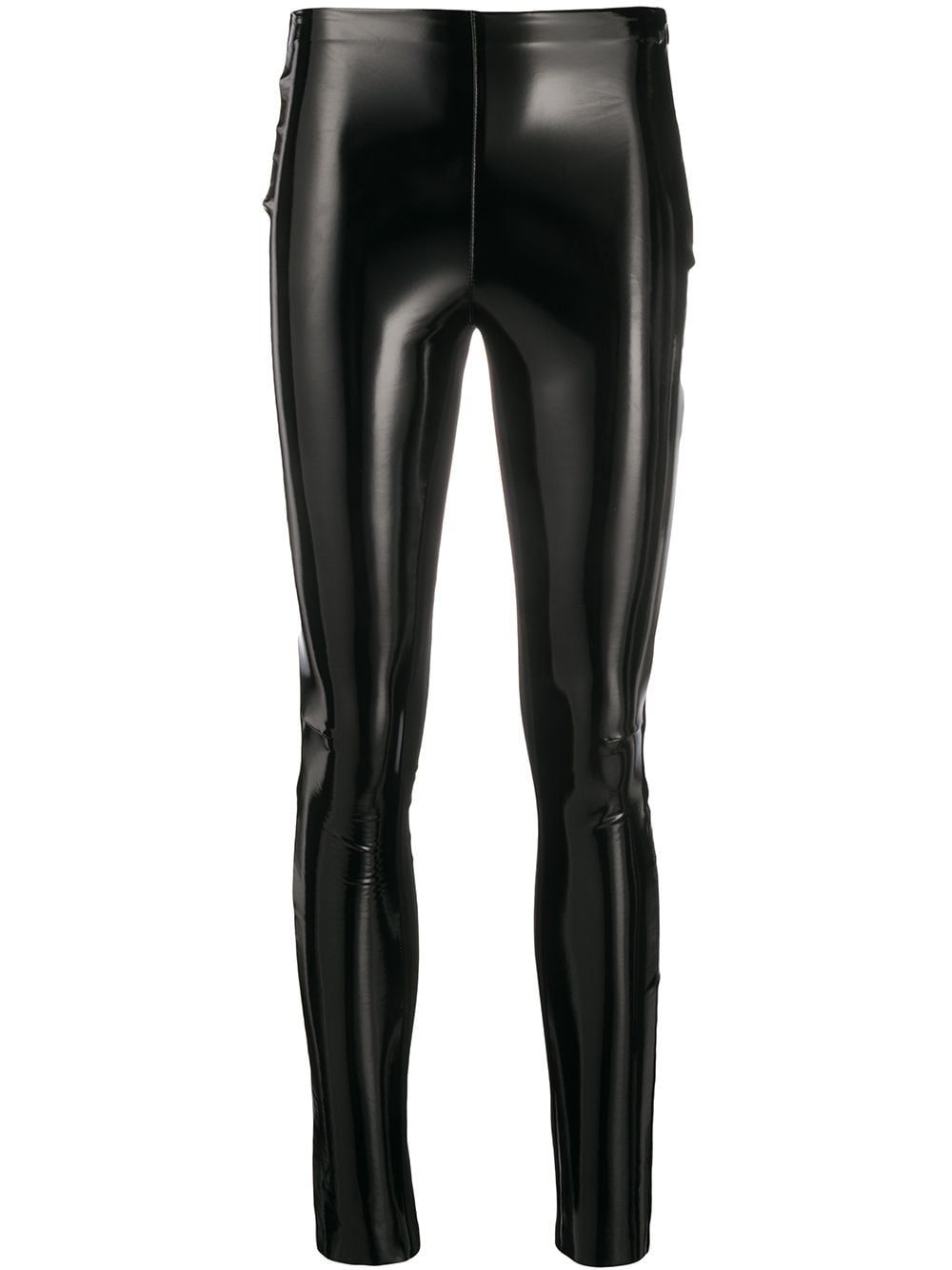 Black STUDIO KL patent slim leggings from Karl Lagerfeld featuring a side zip fastening and a slim fit.
