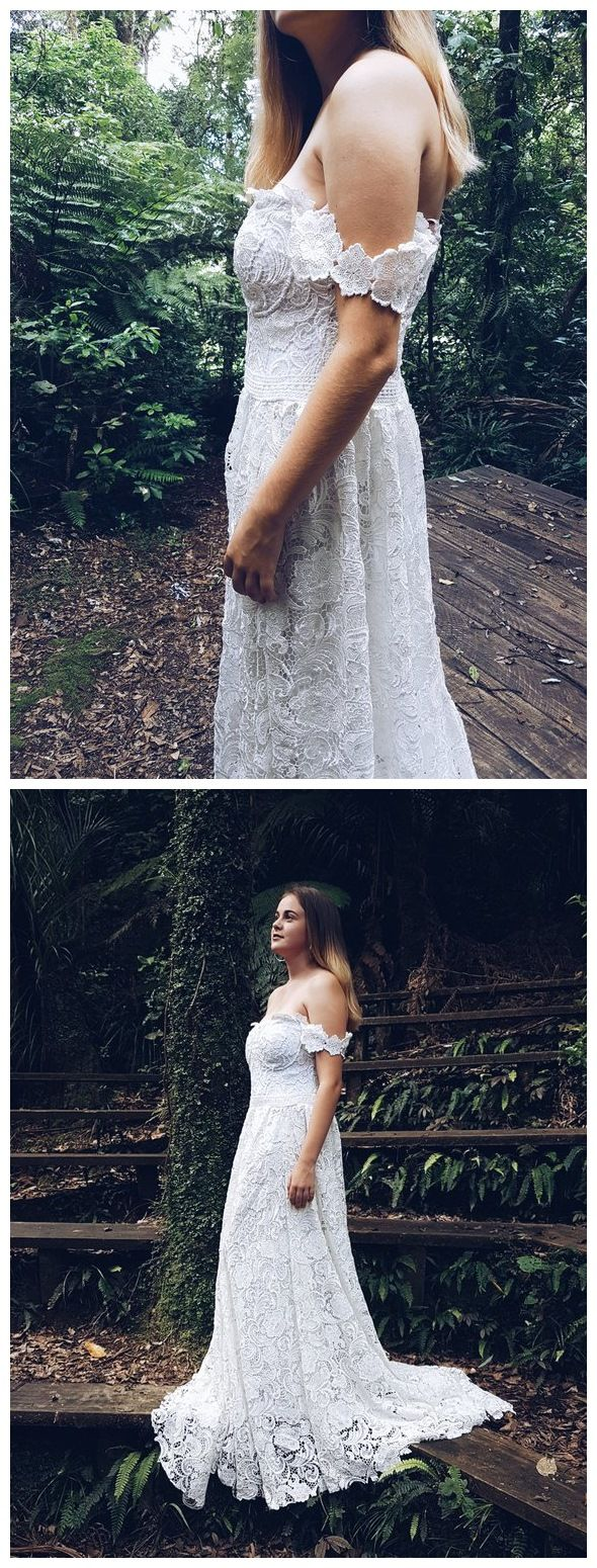Country vintage lace wedding dresses  Plus Size White Lace Wedding Dresses Off the Shoulder Country