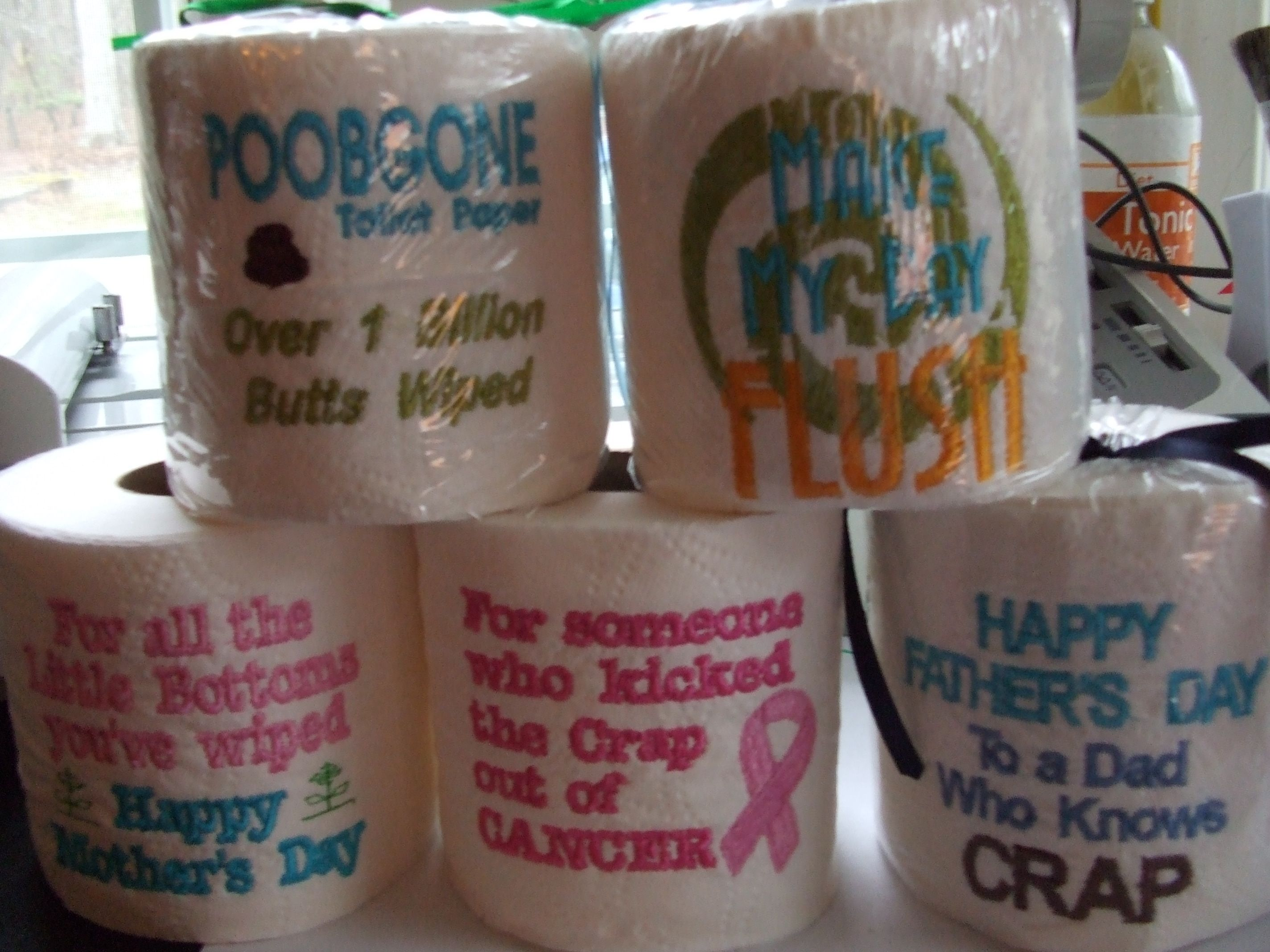 Embroidery Designs For Toilet Paper - My newly embroidered toilet paper rolls