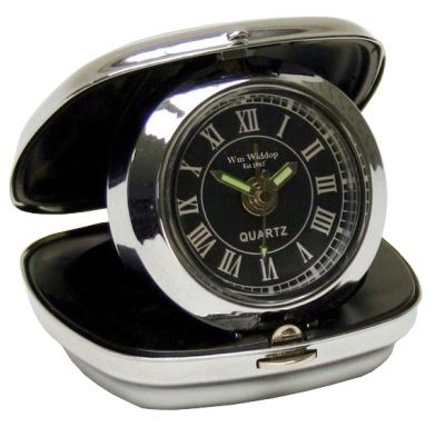 Classic folding travel alarm in chrome. £9.99 at Calliope Gifts - http://www.calliopegifts.co.uk/chrome-fold-up-cushion-shape-travel-alarm-black-dial.ir