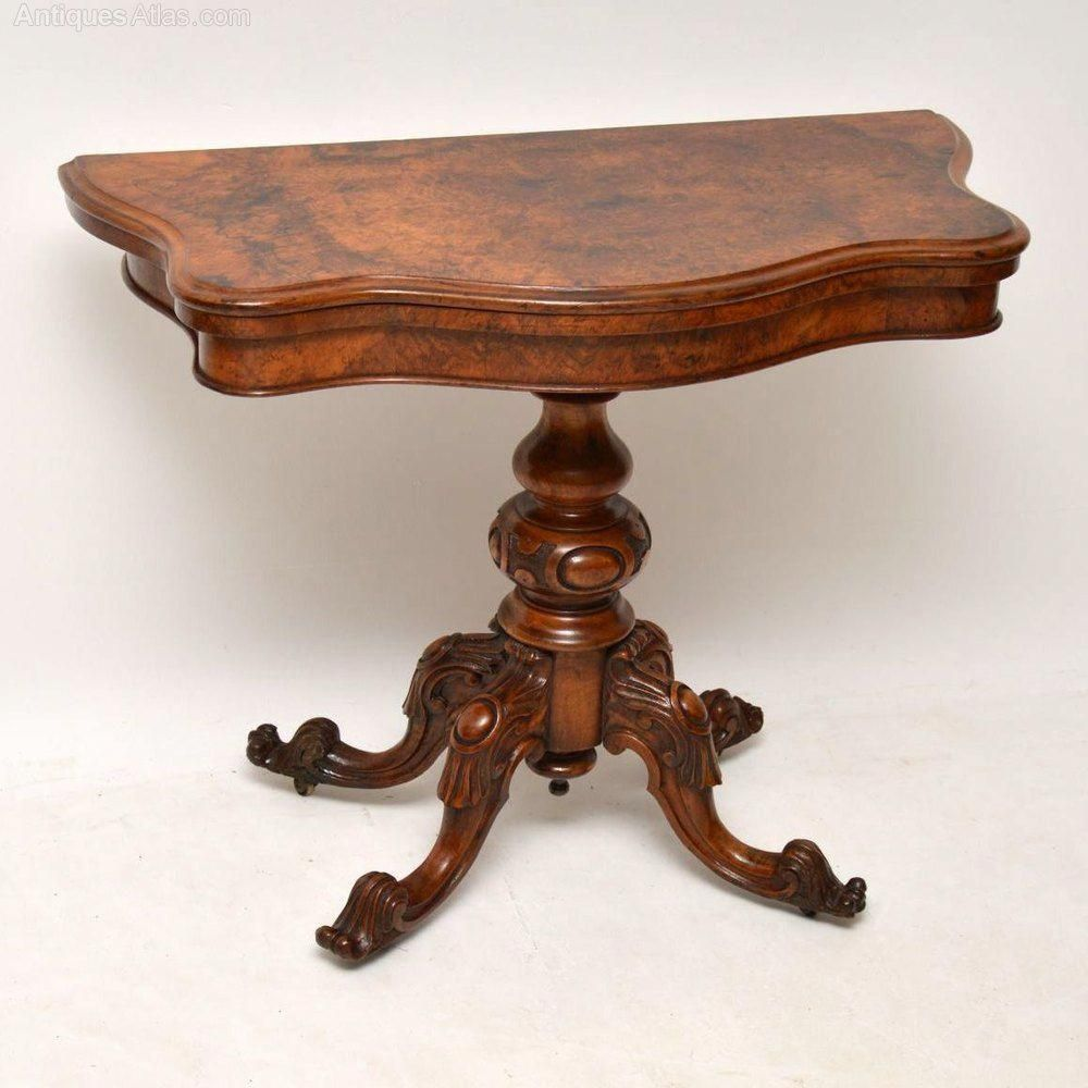 Antique Victorian Burr Walnut Card Table Antiques Atlas Woodworkingprojects Furniture Walnut Side Tables Antique Furniture