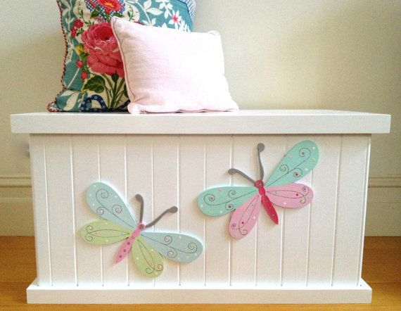 Toy Box - Butterfly, Girls Toy Box, Toy Chest, Toy Storage, Wooden ...