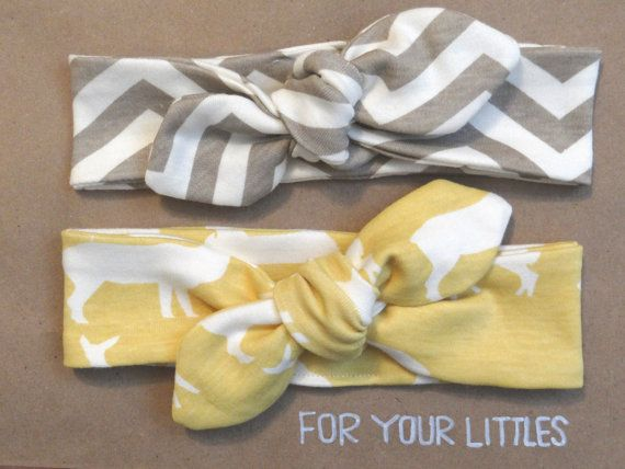 These organic cotton knotted headbands are so cute! Chevron and deer pattern in brown and yellow.