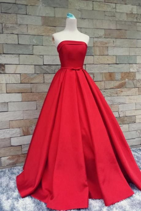6d3c7f240c65 Decent Red Carpet Prom Dresses Strapless Satin Bowknot A Line Evening Formal  Bridesmaid Gowns Custom