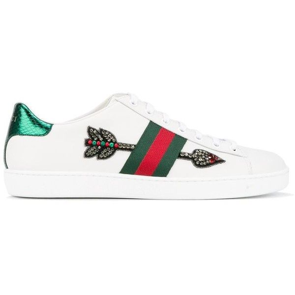 ea8cbf6e9b2 Gucci Gucci Ace Embroidered Low-Top Sneakers (£470) ❤ liked on Polyvore  featuring shoes
