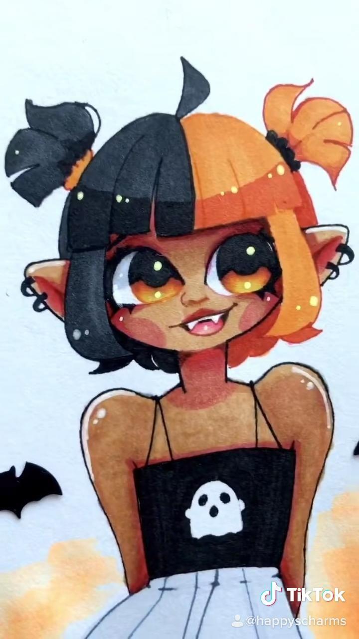 Photo of Half hair Halloween girl drawing