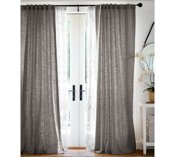 Emery Linen Cotton Drape Pottery Barn Gray Curtains Living Open Living Room Design Curtains