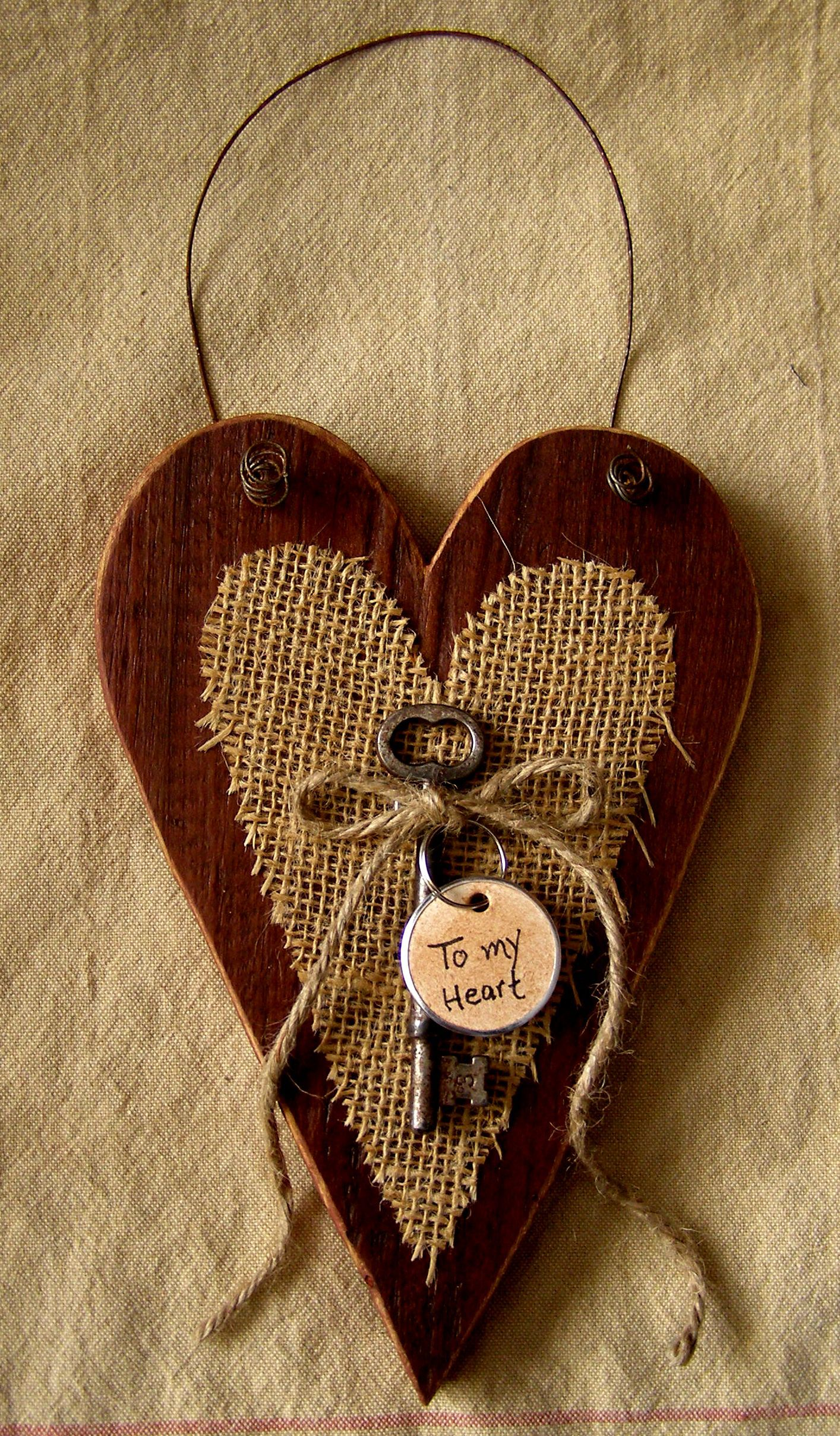 Prim, barn board and burlap heart. -   25 burlap crafts board