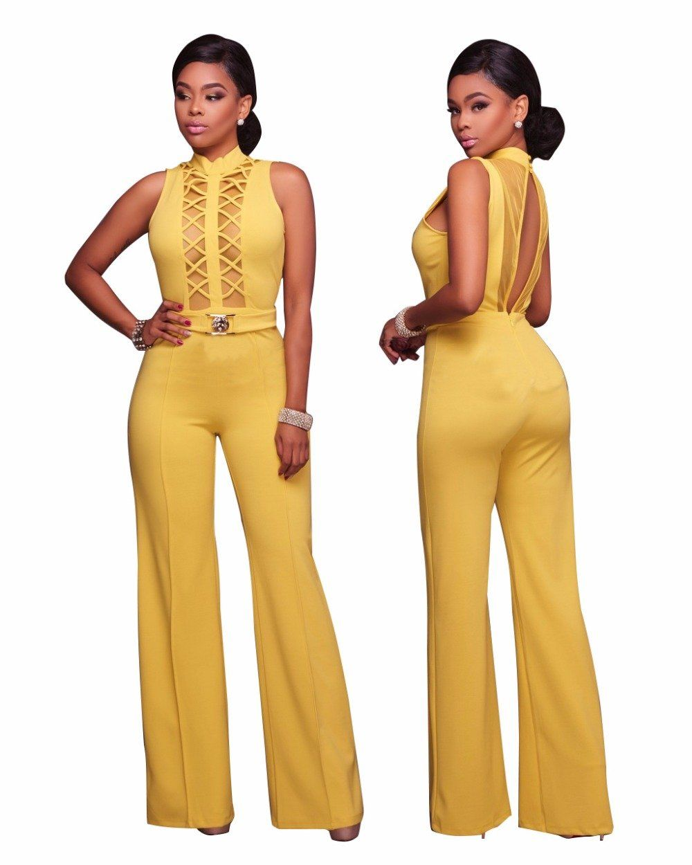 ffe987f0326 New Design Front Hollow Out Sexy High Neck Women Skinny Bodysuits Women  Jumpsuits