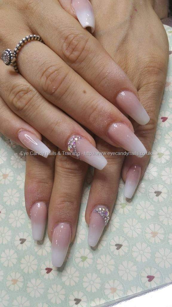 Baby boomer french ombre fade with swarovski crystals | Nails ...