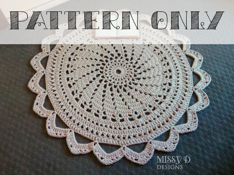 Pattern Only Crochet Doily Rug Raspberry Sorbet Handmade