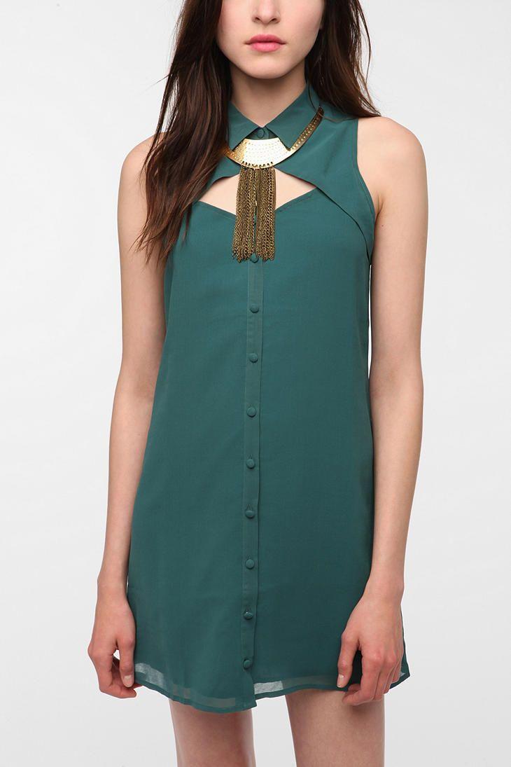 UrbanOutfitters.com > Sparkle & Fade Georgette Sleeveless Shirtdress