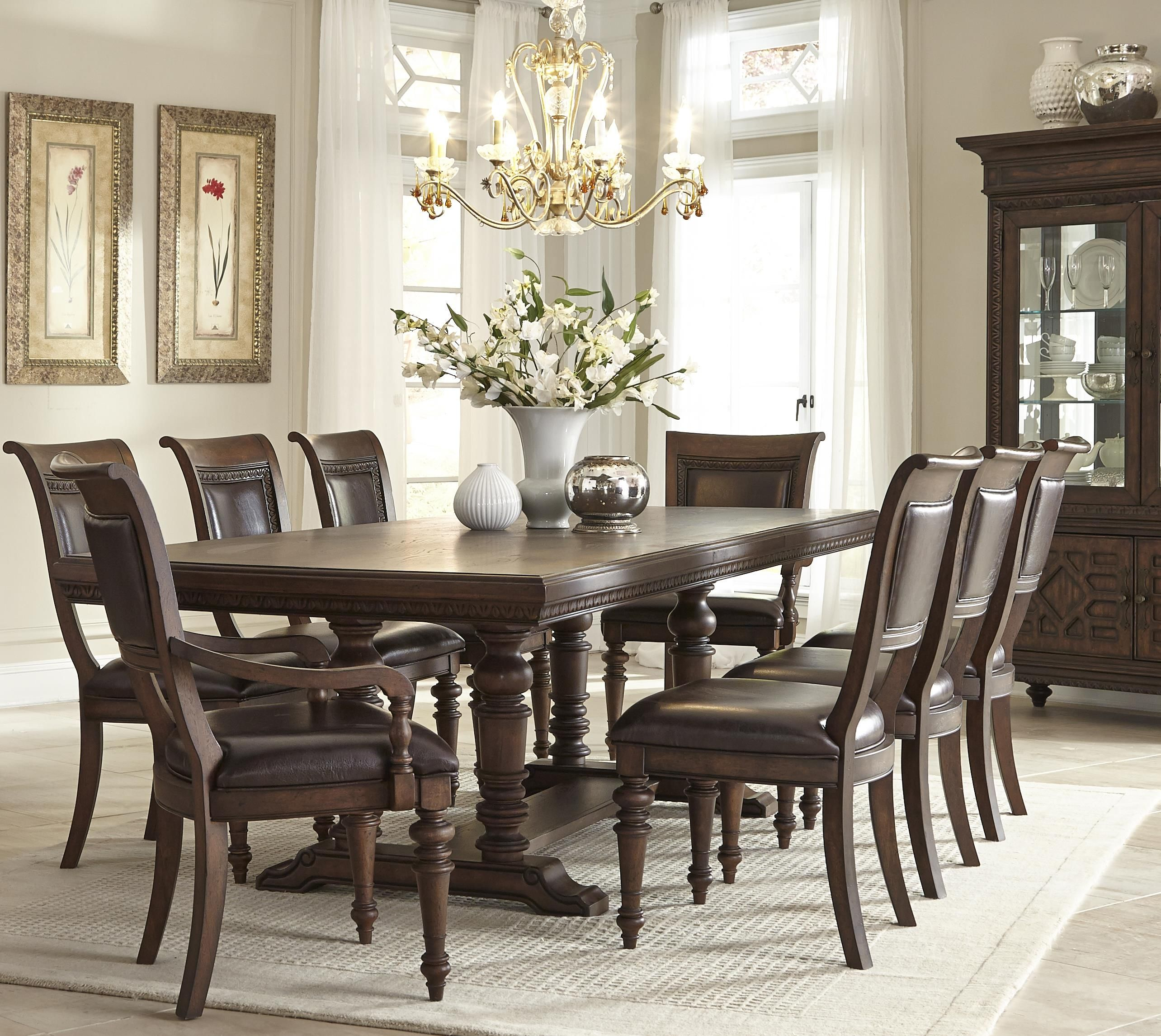 palencia rectangular trestle dining table with 2