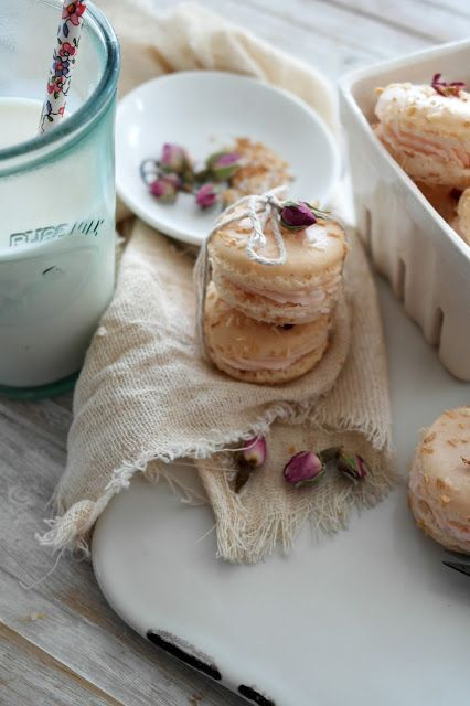 toasted coconut rose macarons