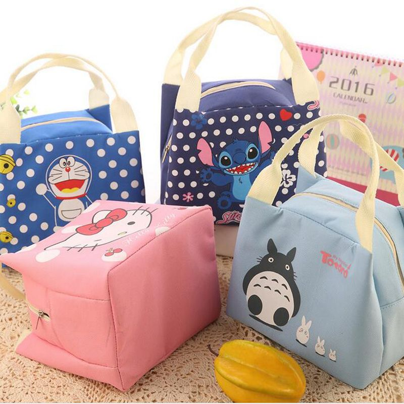 Hello Kitty Portable Insulated Totoro Canvas lunch Bag Stitch Thermal Food  Picnic Lunch Bags for Women Cooler Lunch Box Bag Tote 86987257396cb