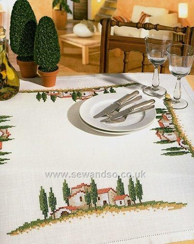 Superb Buy Tuscan Scene Tablecloth, 85 X 85cm Stamped Cross Stitch Kit Online At  Www.