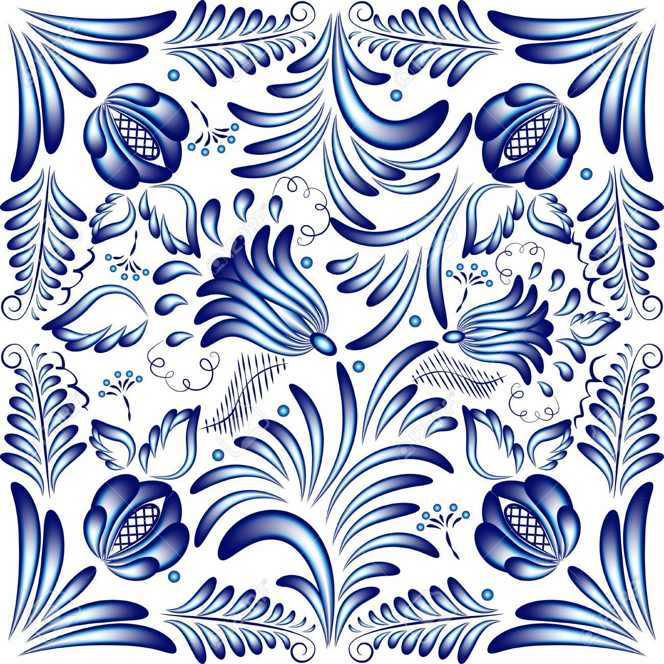 Artistic floral element abstract gzhel folk art blue flowers stock - Blue Floral Pattern In Gzhel Style Vector Illustration Royalty Free Cliparts Vectors And