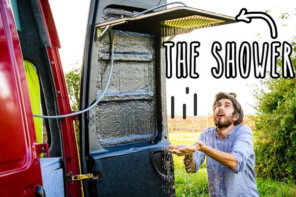 Photo of Small RV Trailers Bathroom – A shower with a rain shower head built into the rea…