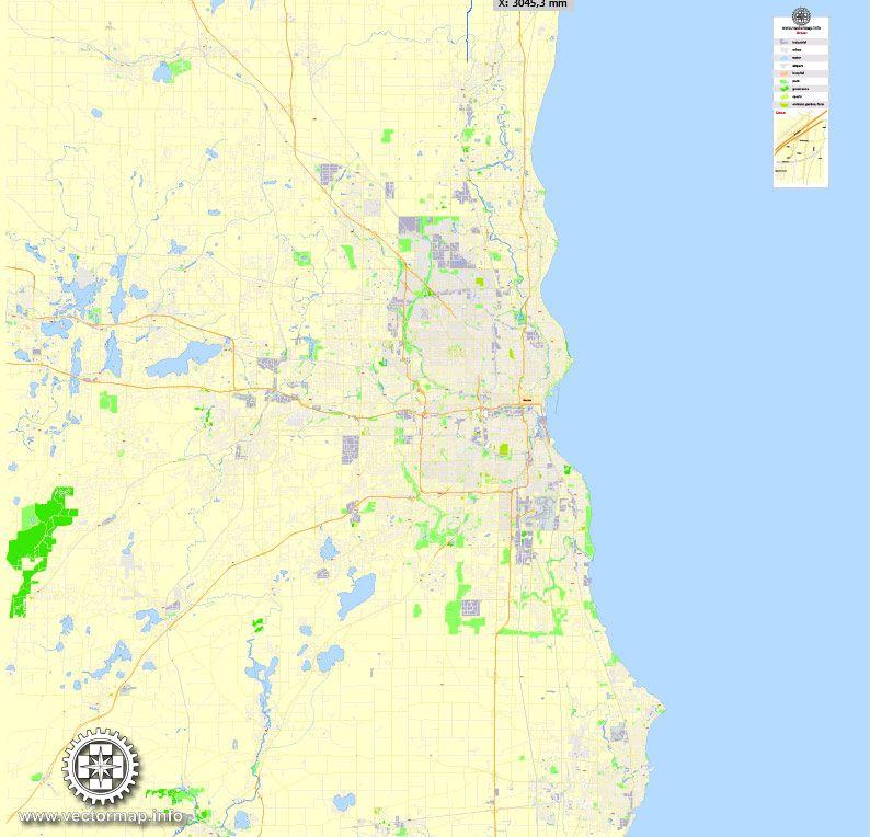 Milwaukee Printable Map Wisconsin Us Exact Vector Street G View