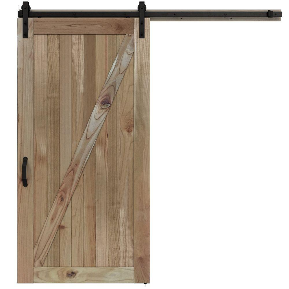 JELD-WEN 42 in. x 84 in. Rustic Unfinished Wood Barn Door with Sliding Door Hardware Kit-JW2212-00004 - The Home Depot