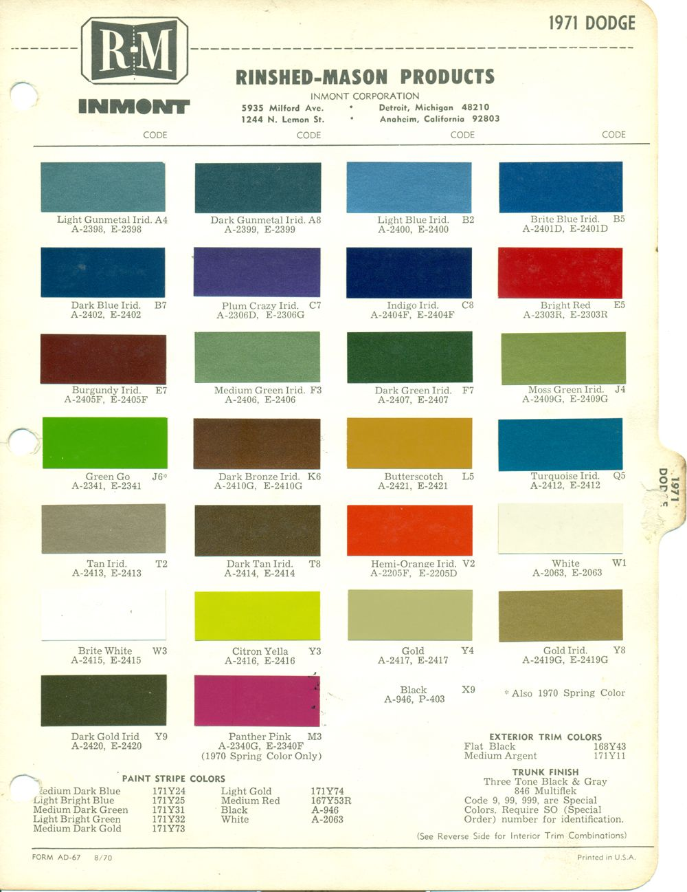 1971 DODGE COLOR CATALOG CHIP CHART | MOPAR | Dodge charger