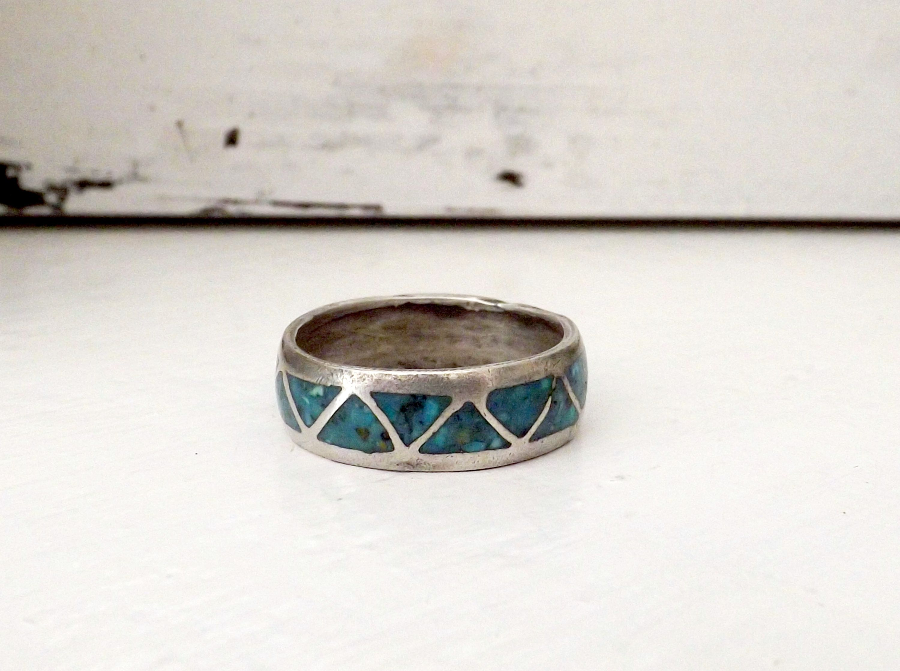 Turquoise Ring Navajo Ring 925 Sterling Silver Native American Wedding Band