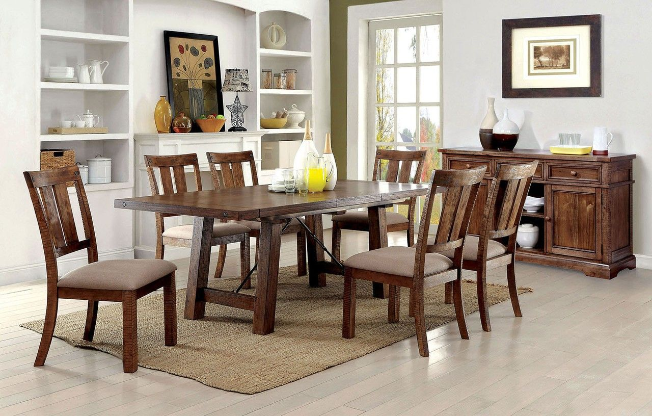 Ocfurniture  Furniture Of America Cm3132T Oak Dining Table With 6 Alluring Oak Dining Room Table And 6 Chairs Design Inspiration