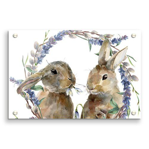 Two Watercolour Rabbits Childrens - Unframed Graph