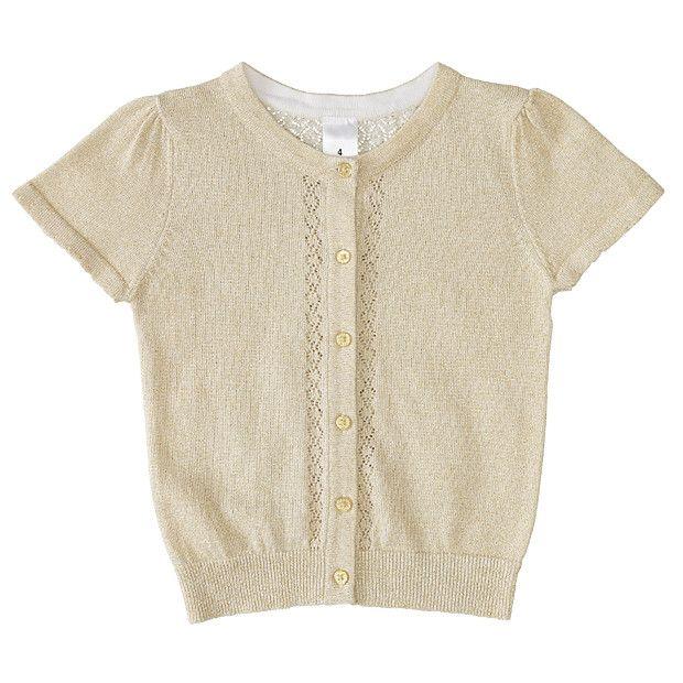 Girls' Short Sleeve Metallic Gold Knit Cardigan | Zig's Barmi ...