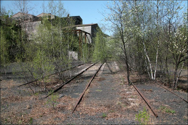 Old RR tracks near an abandoned Coal Breaker. Shenandoah
