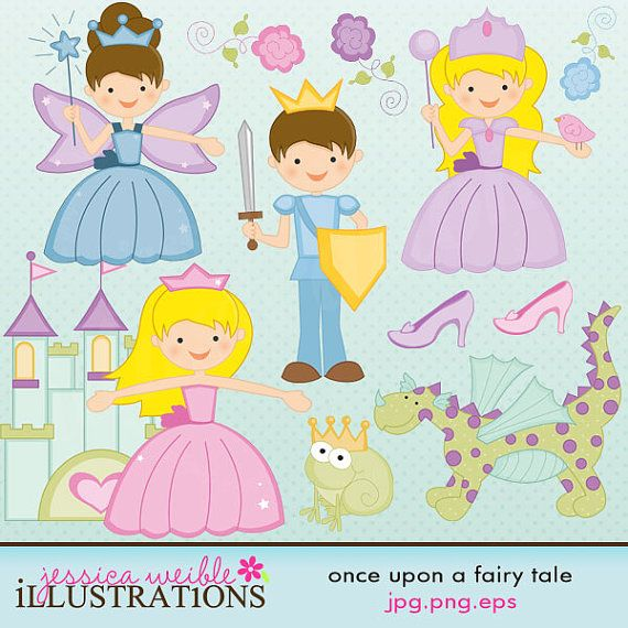 Once Upon A Fairy Tale Cute Digital Clipart For Card Design Etsy Fairy Tales Clip Art Doodle Characters