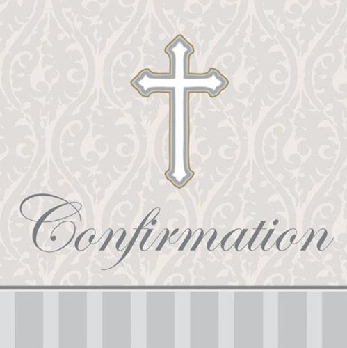Creative Converting Devotion Cross Confirmation Lunch Napkins, Silver, 16 Count Creative Converting