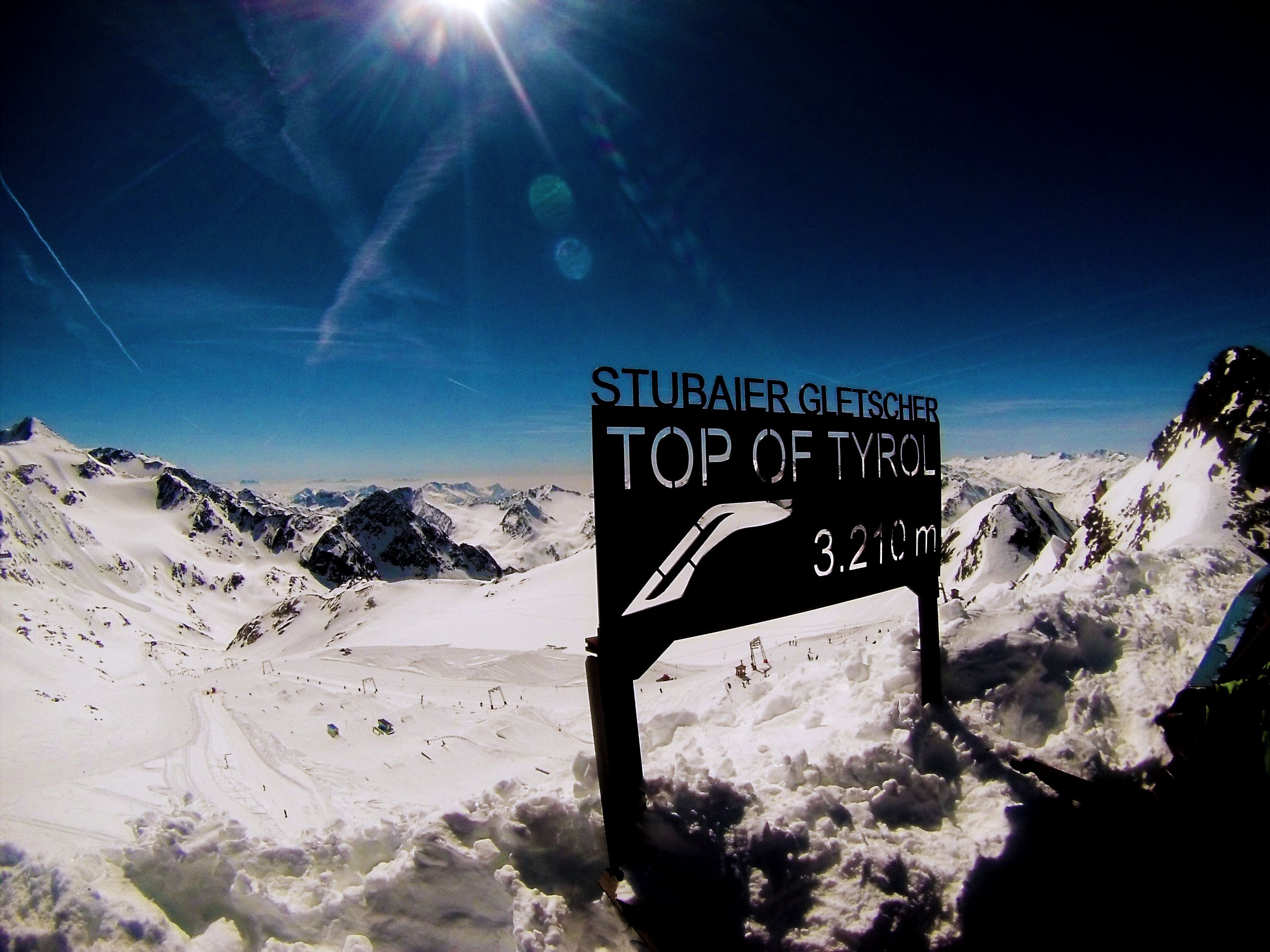 Taken using a GOPRO at the highest point of a mountain in a ski resort in Austria.