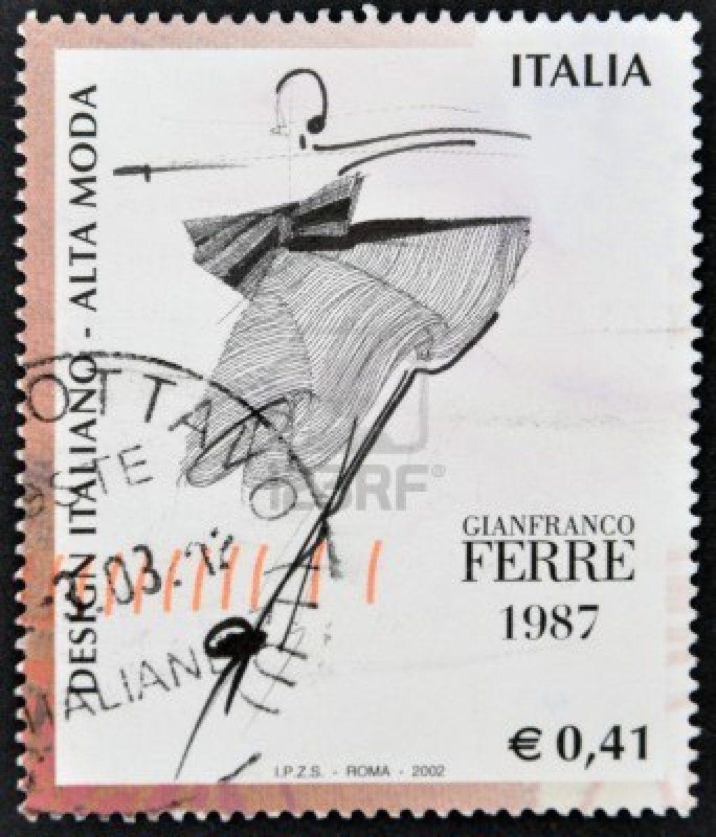 Italia--circa-1987-un-sello-impreso-en-italia-dedicada-al-diseno-italiano-muestra-la-alta-moda GIANFRANCO FERRE