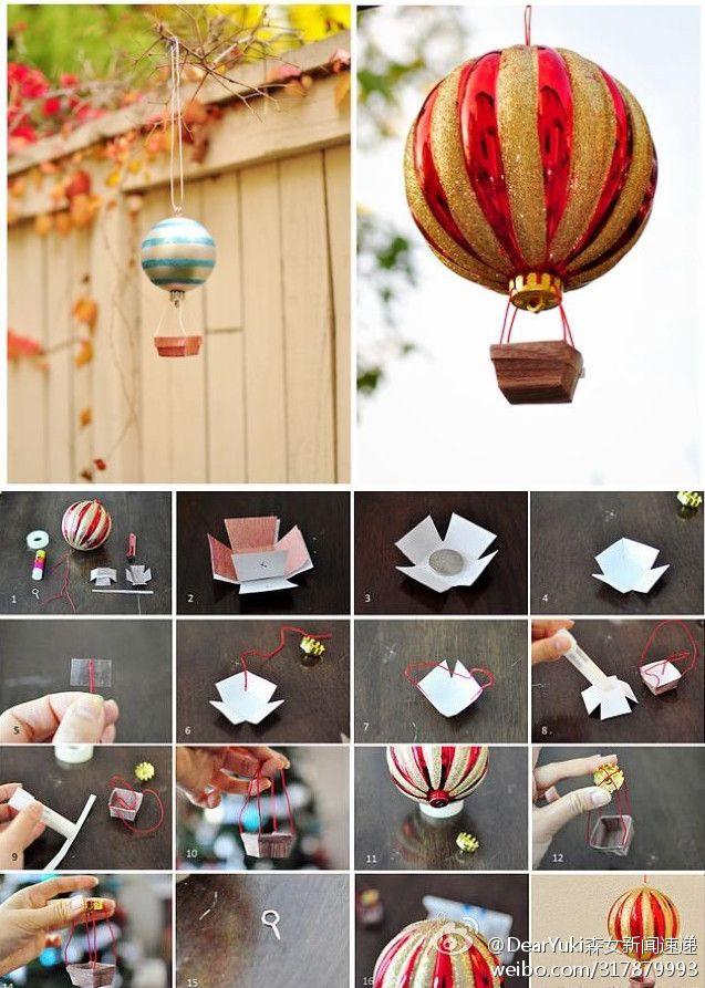 Superbe Hot Air Balloon Decoration From Christmas Ornaments :). Idea For Kids Bathroom  Decor