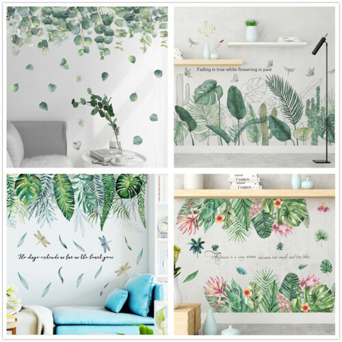 Removable Wall Stickers Tropical Plant Leaves Pattern Home Room Wall Decal Wall Stickers Bedroom Removable Wall Stickers Tropical Wall Decals