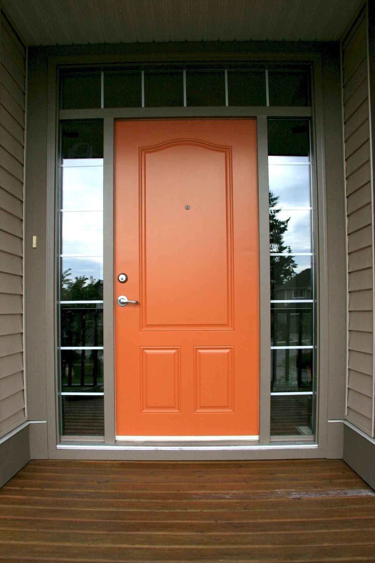 100 Unique Front Doors Colors Design Ideas 14 Orange Front Doors Unique Front Doors Front Door Paint Colors