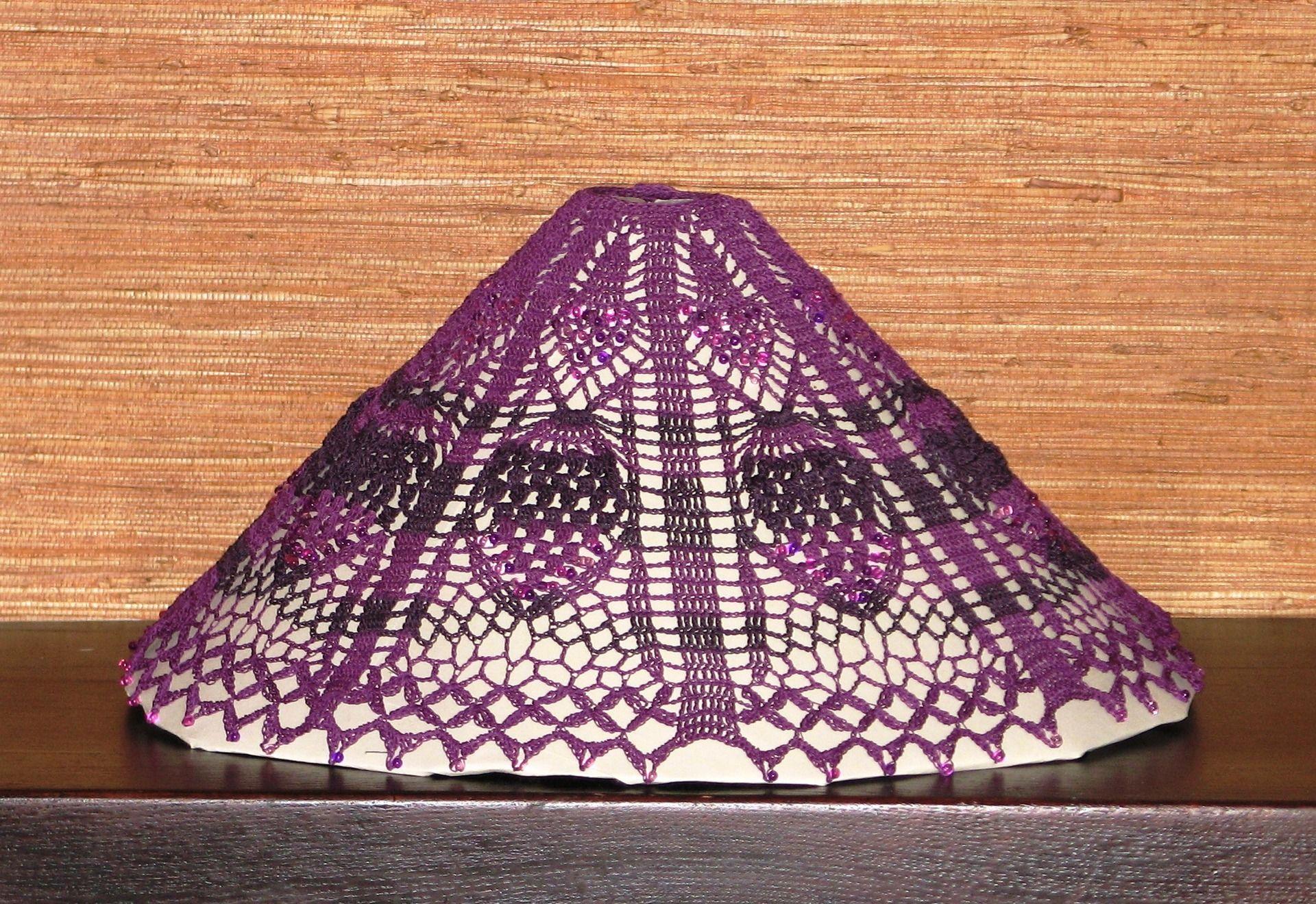 Nappe Lie De Vin jupon d'abat-jour rétro en lin violet et lie de vin crocheté