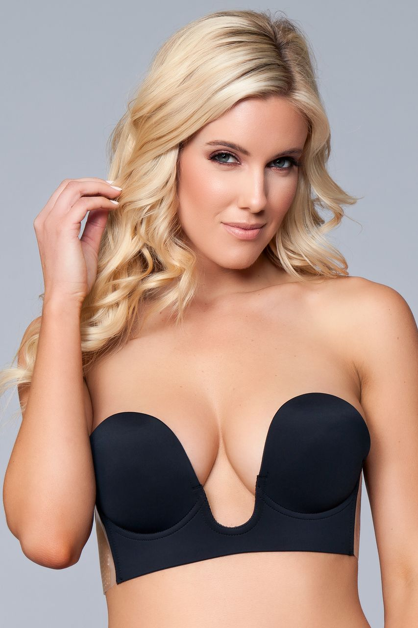 f607a4a471ae7 Sexy Be Wicked Black Nude Strapless U Shape Plunging Microfiber Silicone  Strapless Backless Adhesive Bra Small Medium Large XL