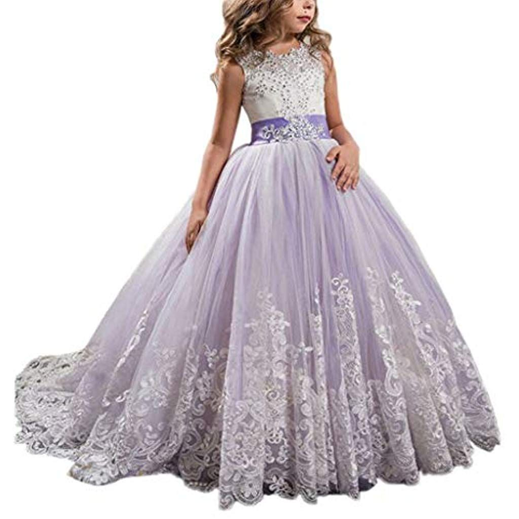 Likecrazy Mädchen Kleider Spitze Tüll Hochzeit Kleid Party